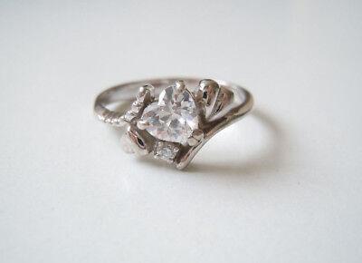 Precious Metal Without Stones 925 Sterling Silber Ring Mit 2 X Klaren Steinen Herzform+verzierungen 3,3g/rg58 Easy To Lubricate Fine Jewelry