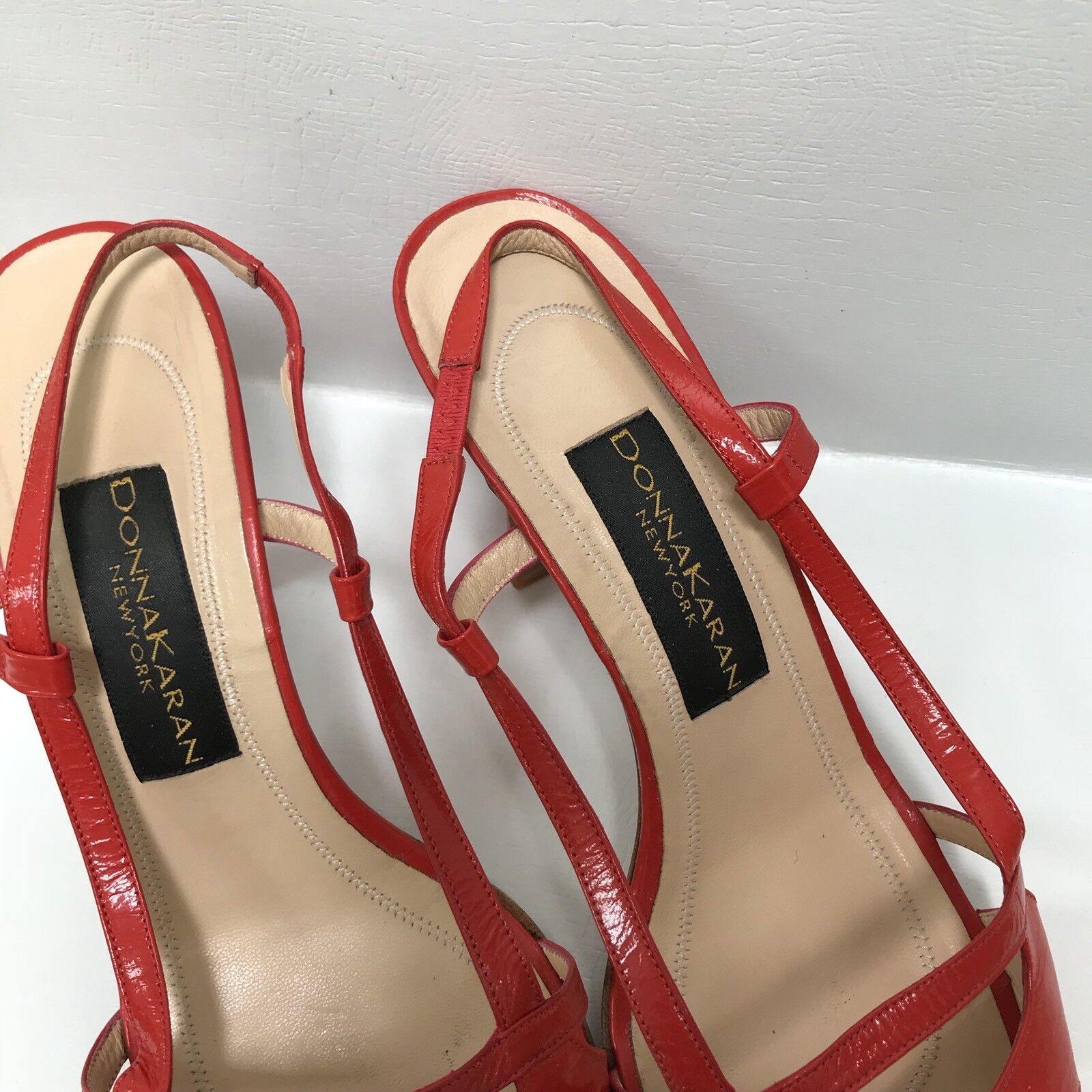 damen damen damen Karan rot Leather Slingbacks Open Toe 9.5B  b3a742