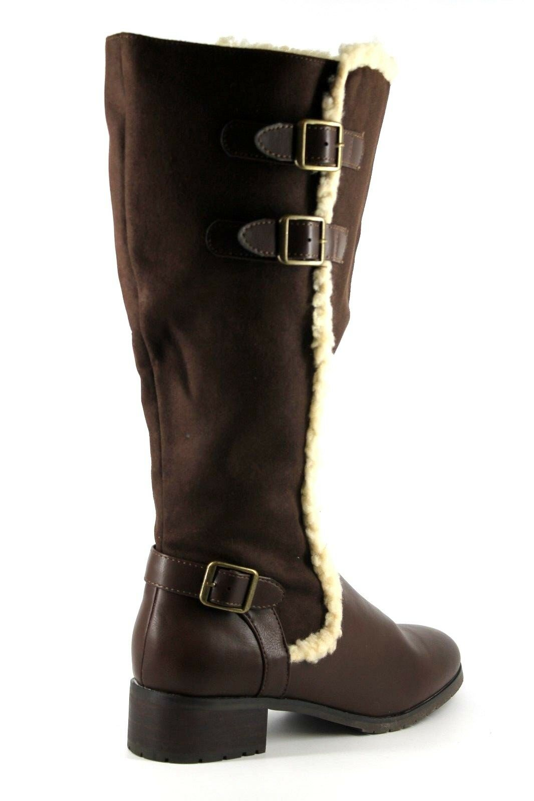Evans Layla Extra Damenschuhe UK 7 EEE Extra Layla Wide Fit Braun Faux Suede Knee High New Stiefel 67c729