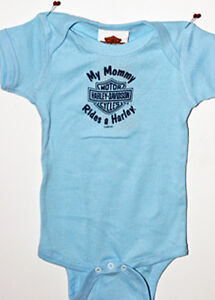 Harley Davidson Blue Creeper Bodysuit Snap-tee My Mommy Rides a Harley