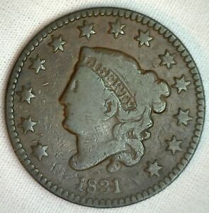 1831-Coronet-Large-Cent-US-Copper-Type-Coin-Very-Good-Genuine-Penny-N5-M44-VG