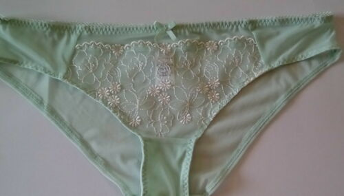 M/&S Ladies Light Green Blossom Embroidery Collection Brazilian Knickers size 12