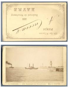A. Caccia, France Le Havre Un bateau dans le port CDV vintage albumen carte de v | eBay