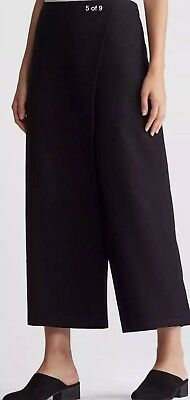Eileen Fisher Pants Pull On Stretch Crepe Washable S Black Slim Crop Excellent In Quality