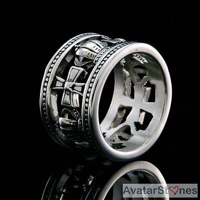 Men's Rocker Cowboy Biker Bling 316L Stainless Steel Cross Crown Ring R4V51
