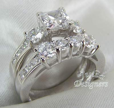 2.53ct PrincessCut EngagementWedding Ring Set Size 9
