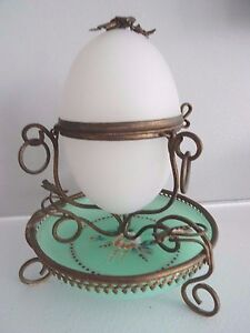 Antiques Purposeful 1800's French Palais Royale Opaline Jade Glass Egg Casket W/ Ormolu Stand Cheap Sales 50% Other Antique Decorative Arts