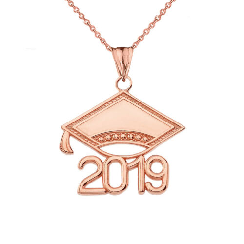 Solid Gold Class Of 2019 Graduation Pendant Cap Necklace in Yellow White Rose