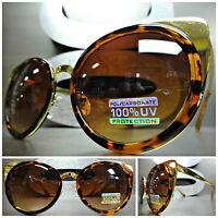 Classic Vintage Retro Elegant Style Sunglasses Unique Tortoise & Gold Oval Frame