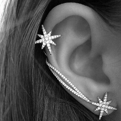 Punk Gothic Antique Silver Snowflake Rhinestone Clip Ear Cuff Wrap Stud Earrings