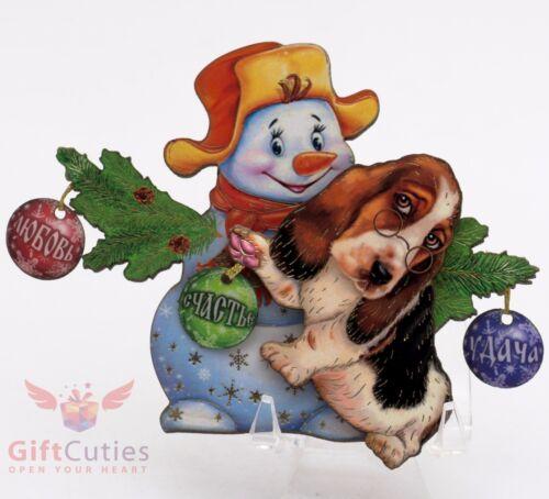 Russian Wooden fridge Magnet of Basset Hound Dog Happy New Year