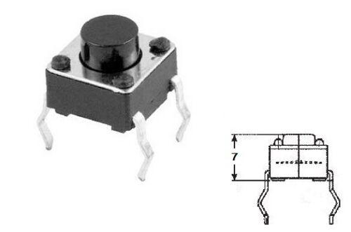 10x Micro mini pulsante 6x6mm altezza 7mm per circuito stampato pcb 12V