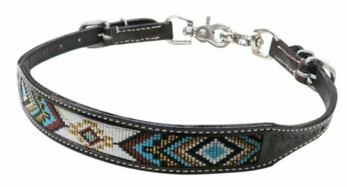Showman Dark Chocolate Argentina Cow Leather Wither Strap w// Beaded Inlay