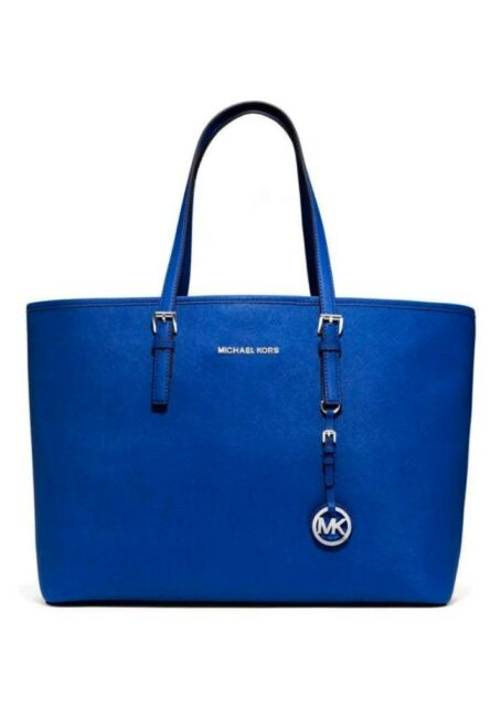 8aca4f2c64e1 Michael Kors Jet Set Travel Multifunction MacBook Leather Tote Sapphire Blue