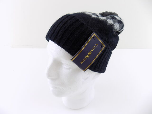 Club Room Men Beanie Striped Pom-pom Hat Acrylic One Size Black Warm ... 93653d59b56