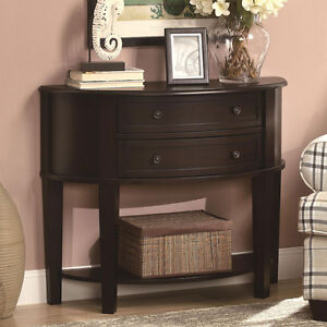 Accent demilune hallway entry console sofa table drawer for Demilune console table with drawers