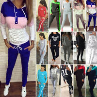 Womens 2pcs Track Suits Sportswear Joggers Jogging Sweats Tops Pants Activewear