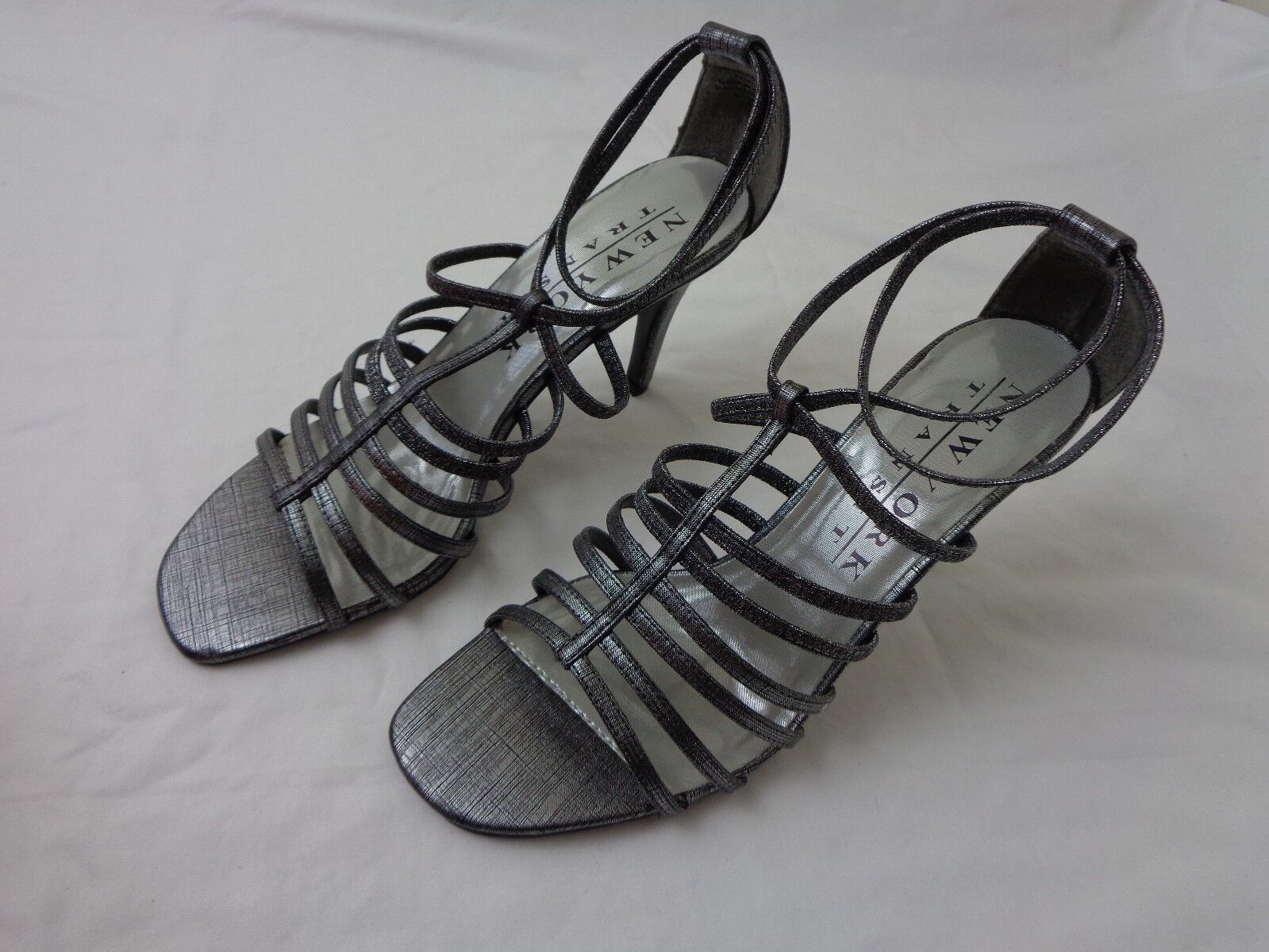 Vintage New York Transit Silver Women's High Shoes Heel Shoes High Size 9M 383c95