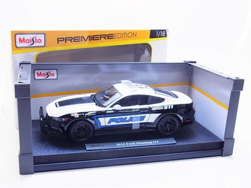 54636Maisto 36203 FORD MUSTANG GT POLIZIA POLICE modello di auto 1:18 NUOVO IN SCATOLA ORIGINALE