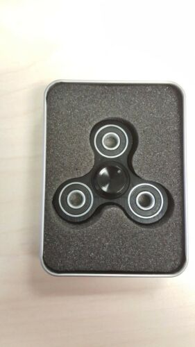 Black Stress Relief Hand Fidget Spinner For Kids Aluminum Finish Adult ADHD