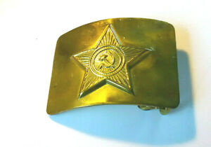 Vintage-Russia-hammer-and-sickly-gold-metal-belt-buckle-men-039-s-accessories