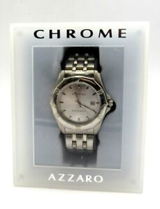 Details about Mens Chrome Azzaro Paris Silver tone Stainless Steel Watch