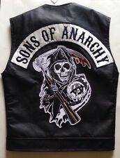 Officially Licensed Sons Of Anarchy Reaper Patch Vest Faux Leather Road Gear S
