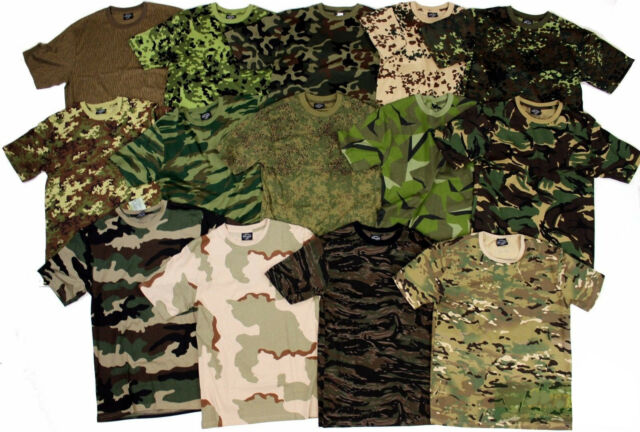 ARMY MILITARY STYLE TSHIRT CAMOUFLAGE CAMO & PLAIN T SHIRT NEW