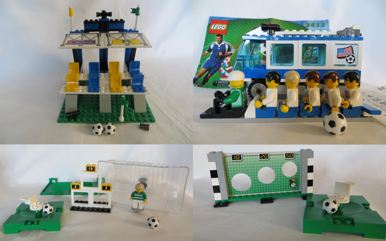 LEGO Lot 3401 3403 3411 3412 Soccer  Footbtutti Americas squadra autobus Shoot Score 2000  Prezzo al piano