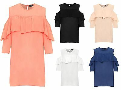 Sparsam Womens Cut Out Cold Shoulder Long Sleeve Frill Shirt Ladies Chiffon Sheer Top Kunden Zuerst