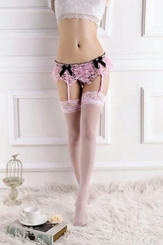 Pink Lace Suspender Belt with Black satin Bows 1658