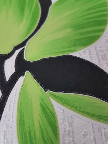 Erismann Motif Floral Pailleté Papier Peint Vert Noir Blanc Texturé Vinyle Fleur