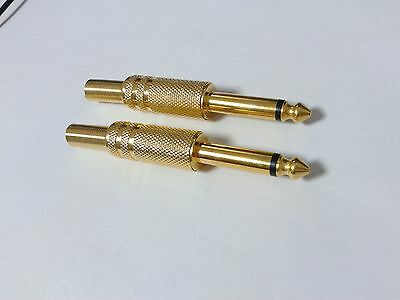 5PCS Gold plated 6.35mm male 1/4 mono plug audio connector soldering