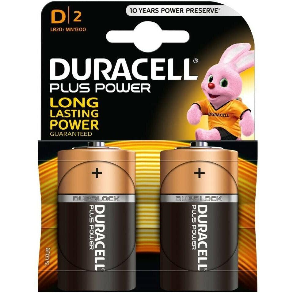 2x Duracell D Plus Power Alkaline Household Battery Duralock LR20 MN1300 MX1300