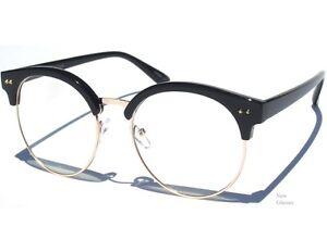 Half Frame Round Eyeglasses : OVERSIZE ROUND Black Half Frame Horn Rim Women Clear ...