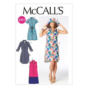 McCall-039-s-6885-Easy-Sewing-Pattern-to-MAKE-Misses-039-Shirt-Style-Dress-amp-Hat