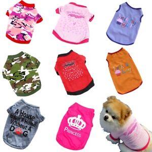 Small-Dog-Cat-Summer-T-shirt-Clothes-Shirt-Cotton-Cute-Outfit-Vest-Apparel-XS-L