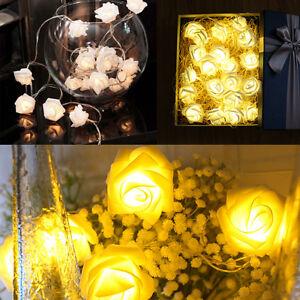 20LED-Rose-Flower-White-String-Lights-Wedding-Garden-Party-Christmas-Decoration