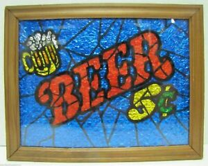 1960/70s BEER Sign Bar Pub Tavern Brewery Ad Foil Faux Stained Glass Ad