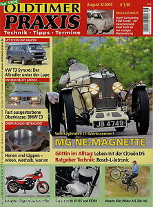 Oldtimer Praxis 2009 8/09 Ajs 16c Bmw 3.0 Si Vw Bus T3 Syncro Ds 21 Pallas Horch Auto & Motorrad: Teile