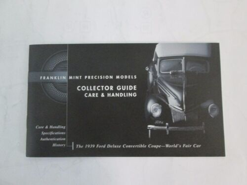 Franklin Mint Paperwork 1939 Ford Deluxe Convertible Coupe World/'s Fair Car