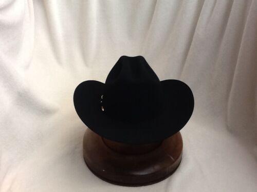 "Stetson Cowboy Hat 6X Beaver Fur Black HIGH POINT brim 3 1//2/"" With Free Brush"