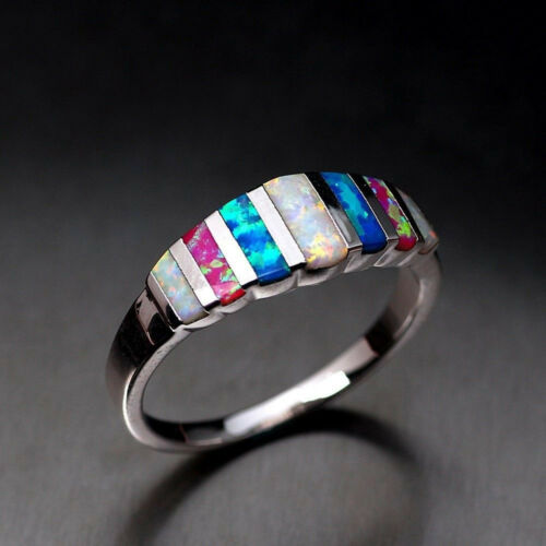 Gorgeous 925 Silver Filled Multi-color Opal Ring Women Wedding Rings Sz6-10 Gift