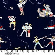 Fat Quarter Out to Sea Pirates on Navy Blue Cotton Quilting Fabric