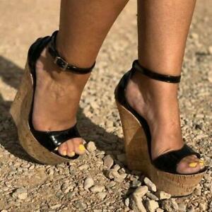 STYLISH Women Sandals Platform Wedge High Heels Sandals Black Shoes US Size 4-15