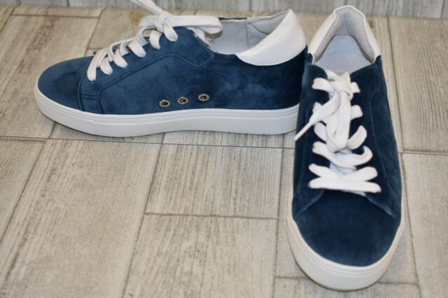 4a93c5b1349 Steve Madden Steal Hidden Wedge Velvet SNEAKERS Women s Size 6m Blue ...
