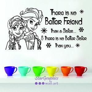 Frozen Anna Elsa Sister Nursery Wall Art Quote Vinyl Decal Sticker Decoration