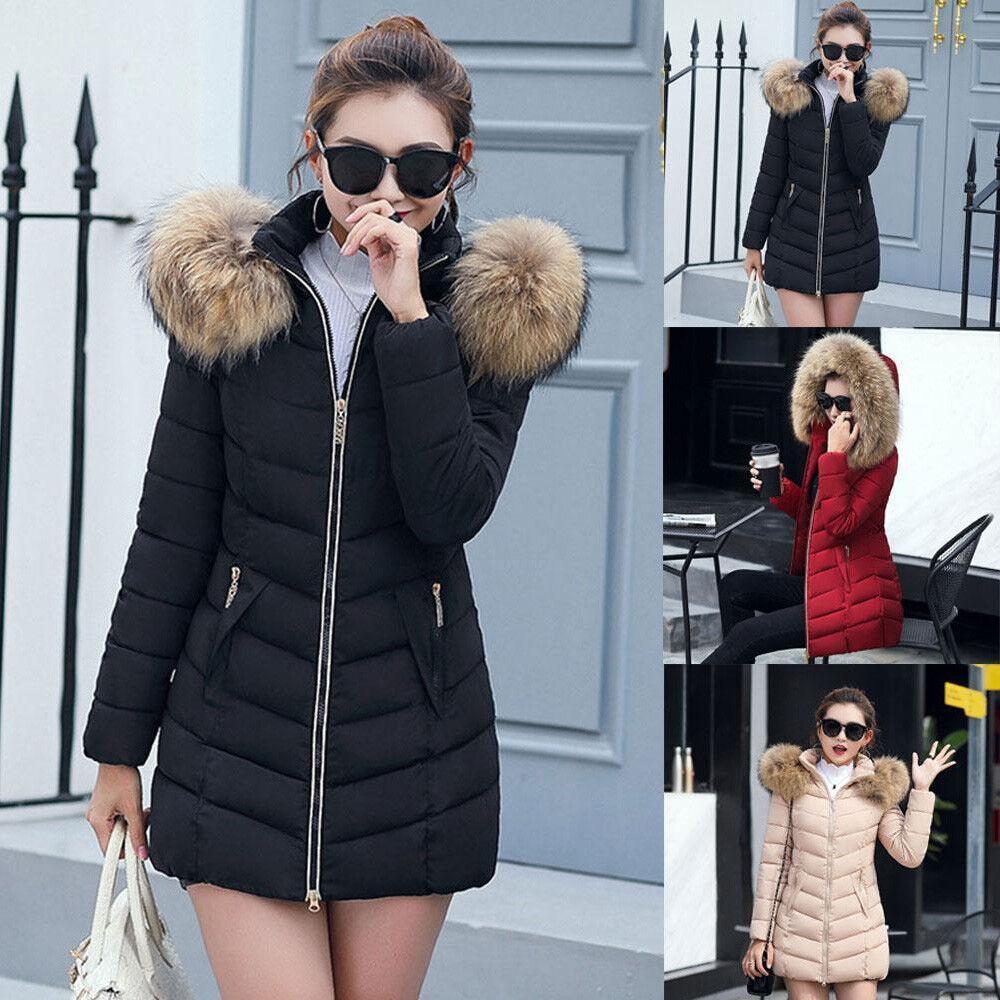Fashion Women Girl Fur Collar Hooded Coat Outwear Winter Warm Cotton Coats NEW