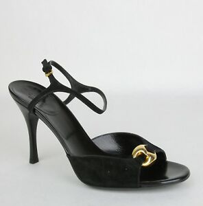 a123f210969  495 Gucci Women s Black Suede Sandal Heel with Gold Detail 9B ...