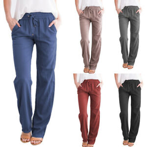 Womens-Linen-Pants-Wide-Leg-High-Drawstring-Casual-Long-Trousers-LO